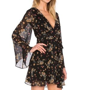 Free People Lilou Bell Sleeve Wrap Floral Dress M